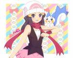 1girl :d artist_name beanie black_hair blue_eyes breasts caro-xy commentary english_commentary gen_4_pokemon hair_ornament hat hikari_(pokemon) light_blush long_hair looking_at_viewer open_mouth pachirisu pink_scarf pink_skirt poke_ball_print pokemon pokemon_(creature) pokemon_(game) pokemon_dppt pokemon_on_arm scarf skirt sleeveless smile tongue v-shaped_eyebrows white_headwear
