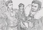 3boys beard black_hair book bookshelf breastplate cape chest cravat epaulettes facial_hair fate/grand_order fate_(series) greyscale iduhara_jugo iskandar_(fate) library long_sleeves male_focus mandricardo_(fate/grand_order) military military_uniform monochrome multicolored_hair multiple_boys napoleon_bonaparte_(fate/grand_order) open_book open_mouth pants reading red_eyes sideburns smile two-tone_hair uniform