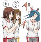 3girls :o =_= blue_hair blush breasts brown_eyes brown_hair character_request closed_eyes collarbone grey_shorts hair_ornament hair_ribbon hairclip hand_up idolmaster idolmaster_million_live! in_the_face index_finger_raised medium_breasts multiple_girls open_mouth parted_lips polka_dot_ribbon red_ribbon ribbon shirt short_sleeves shorts simple_background suzuki_puramo tokugawa_matsuri translation_request v-shaped_eyebrows wavy_mouth white_background white_shirt
