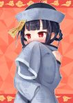 1girl bangs bare_shoulders black_hair blunt_bangs blush braid bright_pupils chinese_clothes detached_sleeves eyebrows_visible_through_hair hair_rings hand_up hat jitomi_monoe long_sleeves nose_blush ofuda outline qing_guanmao red_background red_eyes short_hair sleeves_past_fingers sleeves_past_wrists solo tenneko_yuuri unmoving_pattern upper_body virtual_youtuber voms white_outline white_pupils