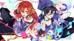 2boys :d black_hair black_pants black_shirt blue_headwear blue_jacket candy collar collarbone commentary_request food hair_between_eyes hair_ornament hair_ribbon hanasaki_miyabi hat headphones headphones_around_neck holding_lollipop holostars jacket kanade_izuru lollipop looking_at_viewer male_focus multicolored multicolored_clothes multicolored_jacket multiple_boys nail_polish open_mouth pants purple_nails red_jacket red_nails redhead ribbon shirt smile tatsuta_age violet_eyes virtual_youtuber white_jacket yellow_eyes