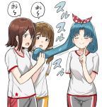 3girls :o blue_hair blush breasts brown_eyes brown_hair character_request closed_eyes closed_mouth collarbone grey_shorts hair_ornament hair_ribbon hairclip hand_up holding holding_hair idolmaster idolmaster_million_live! index_finger_raised medium_breasts multiple_girls open_mouth polka_dot_ribbon red_ribbon ribbon shirt short_sleeves shorts simple_background smile suzuki_puramo tokugawa_matsuri translation_request v-shaped_eyebrows white_background white_shirt