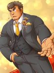 1boy absurdres alternate_costume bara barry_go blush body_hair brown_hair chest_hair facial_hair flustered formal goatee hand_in_pocket highres kengo_(tokyo_houkago_summoners) male_focus manly necktie pants pov solo sparkle suit thick_eyebrows tokyo_houkago_summoners upper_body