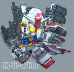 character_name chibi commentary glowing glowing_eyes grey_background gun gundam holding holding_gun holding_shield holding_weapon mecha mobile_suit_gundam no_humans rx-78-2 shield solo susagane weapon yellow_eyes