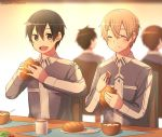 4boys :d :t bangs black_eyes black_hair blurry blurry_background bread closed_eyes eating enokimo_me eugeo eyebrows_visible_through_hair food grey_jacket hair_between_eyes highres holding holding_food indoors jacket kirito light_brown_hair long_sleeves multiple_boys open_mouth shiny shiny_hair smile sword_art_online twitter_username uniform