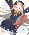 1girl :d ^_^ abigail_williams_(fate/grand_order) bangs black_bow black_dress black_headwear blonde_hair bloomers blush bow bug butterfly closed_eyes commentary_request dress facing_viewer fate/grand_order fate_(series) forehead grey_background hair_bow hat highres insect long_hair long_sleeves open_mouth orange_bow parted_bangs petals polka_dot polka_dot_bow sleeves_past_fingers sleeves_past_wrists smile solo stuffed_animal stuffed_toy teddy_bear totatokeke two-tone_background underwear very_long_hair white_background white_bloomers