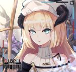 1girl arknights bangs barcode bare_shoulders beret blonde_hair blue_eyes bupa_chila eyebrows_visible_through_hair hat highres horns long_hair looking_at_viewer nightingale_(arknights) portrait solo turtleneck white_headwear