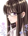 1girl bangs black-framed_eyewear black_hair character_name collared_shirt commentary_request copyright_name eyebrows_visible_through_hair from_side glasses himawari-san himawari-san_(character) lips long_hair portrait shirt simple_background solo sugano_manami violet_eyes white_background white_shirt