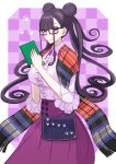 1girl blush book breasts checkered checkered_background closed_mouth double_bun fate/grand_order fate_(series) frills glasses holding holding_book kozara14 large_breasts lavender_shirt long_hair long_sleeves looking_at_viewer murasaki_shikibu_(fate) purple_background purple_hair purple_skirt shawl skirt smile very_long_hair violet_eyes