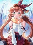 1girl apron bangs bare_tree blurry blurry_background blush breath brown_apron brown_hair brown_hairband brown_scarf clarisse_(granblue_fantasy) closed_mouth depth_of_field eyebrows_visible_through_hair frilled_apron frills granblue_fantasy green_eyes hair_intakes hair_ribbon hairband hand_up highres long_hair long_sleeves low_twintails outdoors red_ribbon red_skirt ribbon scarf shiao shirt skirt sleeveless sleeveless_shirt smile solo tree twintails very_long_hair waist_apron white_shirt white_sleeves