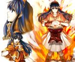1girl blue_eyes blue_hair book bracelet brown_eyes closed_mouth collarbone delsaber fire fire_emblem fire_emblem:_the_binding_blade floating_hair jewelry lilina_(fire_emblem) long_hair looking_at_viewer looking_up magic miniskirt open_book orange_capelet pleated_skirt shiny shiny_hair skirt very_long_hair white_background white_skirt