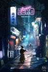 4boys 9xczlqnl1tmns84 alley back_turned black_hair city copyright_name cyberpunk gun holding holding_gun holding_sword holding_weapon japanese_clothes katana katana_zero kimono male_focus multiple_boys neon_lights night police police_uniform ponytail poster rain rifle samurai science_fiction sheath shield shotgun sign signature sniper sniper_rifle sword tagme tied_hair translation_request uniform weapon zero_(katana_zero)