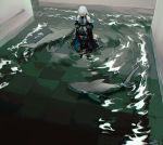 1girl absurdres arknights bare_shoulders closed_eyes curtch flood from_above highres looking_down no_hat no_headwear shark silver_hair skadi_(arknights) solo thighs