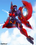 1girl absurdres alternate_breast_size autobot blue_eyes breasts cosmikaizer energy_sword english_commentary flying high_heels highres holding holding_sword holding_weapon large_breasts looking_back mechanical_wings no_humans open_hand solo sword thick_thighs thighs transformers weapon wide_hips windblade wings