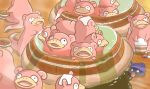 bowl fangs gen_1_pokemon goritank holding no_humans onsen open_mouth partially_submerged pokemon pokemon_(creature) rice rice_bowl sen_to_chihiro_no_kamikakushi shellder sitting slowpoke smile steam tail tongue tongue_out towel water wet