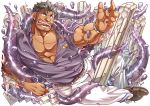 1boy 2bombom abs bara beard belt brown_eyes chest dagon_(tokyo_houkago_summoners) facial_hair full_body grey_hair jewelry looking_at_viewer male_focus manly muscle official_art open_clothes open_shirt pectorals ring simple_background solo tentacles tokyo_houkago_summoners tongue tongue_out watch