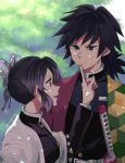 1boy 1girl :d asymmetrical_clothes belt_buckle black_eyes black_hair black_jacket blue_eyes blurry blurry_background buckle butterfly_hair_ornament couple day eye_contact finger_to_another's_mouth gradient_hair grey_hair hair_ornament haori index_finger_raised jacket japanese_clothes kimetsu_no_yaiba kochou_shinobu long_sleeves looking_at_another low_ponytail multicolored_hair nyangorobei open_mouth outdoors ponytail profile shiny shiny_hair short_hair smile tomioka_giyuu