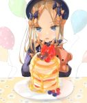 1girl abigail_williams_(fate/grand_order) balloon bangs birthday black_bow black_dress black_headwear blonde_hair blue_eyes blueberry bow dress eyebrows_visible_through_hair fate/grand_order fate_(series) food forehead fruit hair_bow hat highres indoors long_hair multiple_bows multiple_hair_bows object_hug open_mouth orange_bow pancake parted_bangs plate polka_dot polka_dot_bow purple_bow sakazakinchan simple_background sleeves_past_fingers sleeves_past_wrists smile solo stack_of_pancakes strawberry stuffed_animal stuffed_toy table teddy_bear white_background