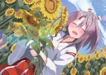 1girl blue_sky closed_eyes clouds commentary_request day dutch_angle flower grey_hair hachimaki hakama_pants headband high_ponytail highres japanese_clothes kantai_collection long_hair natsuki_(gedo) outdoors pants ponytail red_pants sky solo striped_headband sunflower zuihou_(kantai_collection)