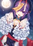 1girl :d absurdres black_dress black_headwear blurry braid breasts cowboy_shot depth_of_field dress fang fate/grand_order fate_(series) frilled_sleeves frills full_moon ghost_pose gold_trim hair_rings highres horns jiangshi long_hair long_sleeves looking_at_viewer medium_breasts moon night ofuda oni_horns open_mouth pelvic_curtain purple_hair red_ribbon ribbon sapphire_(sapphire25252) shuten_douji_(fate/grand_order) smile solo sparkle standing thick_eyebrows thighs twin_braids violet_eyes