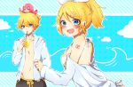 1boy 2girls bangs beruna0612 bikini blonde_hair blue_background blue_eyes blush blush_stickers clouds commentary cup drinking holding holding_cup hooded_shirt kagamine_len kagamine_rin looking_at_viewer multiple_girls octopus off-shoulder_shirt off_shoulder open_clothes open_mouth open_shirt pink_hair polka_dot polka_dot_background ponytail shirt short_hair short_ponytail shorts shoulder_tattoo sitting sitting_on_head sitting_on_person smile solid_circle_eyes spiky_hair swept_bangs swimsuit takoluka tattoo upper_body vocaloid waves white_shirt