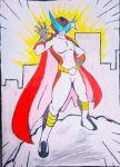 absurdres cape hero highres original pose sketch