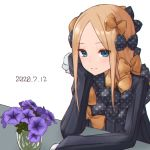 1girl abigail_williams_(fate/grand_order) absurdres bangs birthday black_bow black_dress blonde_hair blue_eyes bow dated dress fate/grand_order fate_(series) flower hair_bow hand_on_own_cheek highres kopaka_(karda_nui) long_hair long_sleeves looking_at_viewer multiple_bows multiple_hair_bows orange_bow parted_bangs polka_dot polka_dot_bow purple_flower simple_background sleeves_past_fingers sleeves_past_wrists smile solo white_background