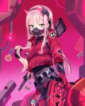 1girl absurdres alternate_costume bangs bodysuit breasts cyberpunk darling_in_the_franxx english_commentary eyebrows_visible_through_hair green_eyes gun headband highres horns indoors jacket long_hair looking_at_viewer mask medium_breasts mouth_mask pink_hair red_horns red_jacket sidelocks solo turtleneck weapon yaya_chan zero_two_(darling_in_the_franxx)