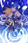 animal_ears arms_around_neck black_suit blue_eyes blue_nails bodysuit boots bow bowtie cat_ears cat_tail commentary controller detached_sleeves foreshortening from_above full_body glowing holding_remote_control holographic_interface hug kagamine_len kaito knee_boots light_smile looking_at_viewer midriff nail_polish neko_cyber_(module) one_eye_closed project_diva_(series) receiver_(module) remote_control sinaooo standing tail virtual_reality vocaloid yellow_nails