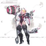 1girl absurdres blonde_hair breasts cyberpunk hammer highleg highleg_leotard highres large_breasts leotard mecha_musume mechanical_legs mechanical_parts red_eyes science_fiction short_hair solo young_(artist)