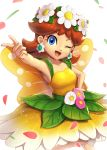 1girl arm_up bangs blue_eyes blush breasts brown_hair collarbone commentary_request dress earrings eyebrows_visible_through_hair fairy_wings flower gonzarez hand_on_hip happy head_wreath highres jewelry leaf leg_up light_blush long_hair looking_at_viewer mario_(series) mario_kart_tour one_eye_closed open_mouth petals pink_flower pointing princess_daisy shiny shiny_hair simple_background sleeveless sleeveless_dress small_breasts smile solo standing standing_on_one_leg white_background white_flower wings yellow_dress