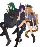 3girls alternate_costume animal_ears arknights blue_hair boots brown_hair ch'en_(arknights) dragon_horns dragon_tail drill_hair fingerless_gloves gloves green_hair hat highres horns hoshiguma_(arknights) latutou1 lgd_officer multiple_girls oni oni_horns pointy_ears police police_hat police_uniform policewoman single_horn skirt swat swire_(arknights) tactical_clothes tail tiger_ears tiger_tail twin_drills uniform vest