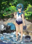 1girl absurdres bangs blue_eyes blue_hair blue_sailor_collar bucket closed_mouth commentary feet fishing_rod hairband highres holding_footwear one-piece_swimsuit over_shoulder pants pants_removed pokemon pokemon_(game) pokemon_sm rock sailor_collar sandals sandals_removed school_swimsuit shirt short_hair sleeveless smile solo suiren_(pokemon) swimsuit swimsuit_under_clothes trial_captain wading water xufei_(qrbqrb)