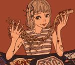 1girl bangs blonde_hair food food_on_face fork hair_ornament hairclip holding holding_food knife muted_color original pasta pizza plate red_background shirt short_hair sleeveless sleeveless_shirt solo spaghetti spoon striped striped_shirt upper_body yuusei_tsukiro