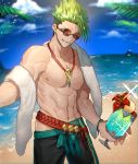 1boy abs absurdres achilles_(fate) alternate_costume cocktail day fate/apocrypha fate/grand_order fate_(series) green_hair highres jewelry male_focus muscle navel necklace nipples none_(kameko227) one_eye_closed outdoors palm_tree pants shiny shiny_hair smirk sparkle summer sunglasses towel tree yellow_eyes