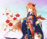 1girl ahoge blue_kimono braid floral_print flower fudo_shin gradient gradient_background hair_flower hair_ornament hololive horns japanese_clothes kimono kiryuu_coco obi orange_hair sash smile solo standing wide_sleeves