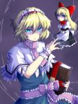 1girl alice_margatroid apron arm_up black_dress blonde_hair blue_background blue_dress blue_eyes book bow bright_pupils capelet commentary_request dress floating gradient gradient_background grimoire_of_alice hair_between_eyes hair_bow hairband holding holding_book lolita_hairband long_hair looking_at_viewer neck_ribbon nonopomu pink_neckwear puppet_rings puppet_strings ribbon sash scowl shanghai_doll short_hair short_sleeves simple_background solo standing touhou upper_body v_arms very_long_hair waist_apron white_capelet wrist_cuffs