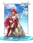 1girl armor armored_dress breastplate closed_mouth clouds commentary cordelia_(fire_emblem) day dress feathers fire_emblem fire_emblem_awakening flamingo_(eme324) gauntlets hair_between_eyes hair_ornament highres holding holding_polearm holding_spear holding_weapon lips long_hair polearm red_dress red_eyes redhead sitting sky smile solo spear twitter_username very_long_hair water weapon wing_hair_ornament