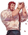 1boy absurdres alternate_costume bara beard casual closed_eyes denim facial_hair facing_another fate/grand_order fate/zero fate_(series) flower guoguo highres holding holding_flower iskandar_(fate) jeans male_focus muscle open_mouth pants petals redhead sketch sleeves_rolled_up standing watch white_background