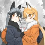 2girls ababababa adapted_costume animal_ears back_bow black_bow black_fur black_gloves black_hair black_kimono blush bow commentary_request extra_ears eyebrows_visible_through_hair ezo_red_fox_(kemono_friends) fox_ears fox_girl fox_tail fur_collar gloves highres japanese_clothes kemono_friends kimono long_hair mouse multicolored_hair multiple_girls orange_bow orange_eyes orange_hair orange_kimono silver_fox_(kemono_friends) silver_hair tail translation_request white_fur