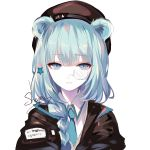 1girl animal_ears arknights bangs bear_ears black_jacket blue_eyes blue_hair blue_neckwear blush braid commentary_request eyebrows_visible_through_hair hair_ornament hair_over_shoulder hat highres holding istina_(arknights) jacket long_hair looking_at_viewer monocle parted_lips sheya shirt simple_background solo white_background white_shirt