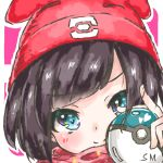 1girl bangs beanie black_hair blue_eyes blush closed_mouth commentary_request eyebrows_visible_through_hair hat heart holding holding_poke_ball looking_at_viewer mizuki_(pokemon) nokocchin outline poke_ball pokemon pokemon_(game) pokemon_sm portrait red_headwear smile solo swept_bangs two-tone_background white_outline