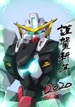 2020 artist_name blue_eyes close-up glowing glowing_eyes gundam gundam_00 gundam_virtue happy_new_year highres i.takashi looking_at_viewer looking_down mecha new_year no_humans solo upper_body