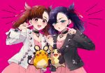 2girls :o aqua_eyes asymmetrical_bangs bangs black_choker black_hair black_jacket black_nails blush brown_eyes brown_hair chikuwakyuuri choker collarbone commentary_request cosplay dedenne dress dynamax_band earrings eyelashes gen_6_pokemon gen_8_pokemon hair_ribbon hand_up holding_hands jacket jewelry long_sleeves looking_at_viewer mary_(pokemon) mary_(pokemon)_(cosplay) medium_hair morpeko morpeko_(full) multiple_girls nail_polish open_clothes open_mouth pink_background pink_dress pokemon pokemon_(creature) pokemon_(game) pokemon_swsh red_ribbon ribbon smile teeth tied_hair tongue twintails upper_teeth white_jacket wristband yuuri_(pokemon)