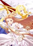 2girls absurdres alice_schuberg artist_request asuna_(sao) blue_cape blue_eyes body_armor braid braided_ponytail brown_eyes brown_hair cape glowing glowing_sword glowing_weapon gold_armor gold_gloves hairband highres holding holding_sword holding_weapon knight long_hair multiple_girls osmanthus_blade rapier shoulder_armor spaulders sword sword_art_online sword_art_online_alicization weapon white_hairband