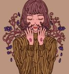 1girl blue_flower blue_nails brown_background closed_eyes facing_viewer flower green_sweater hands_up highres muted_color original plant purple_hair short_hair simple_background solo sweater upper_body yuusei_tsukiro