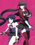 2girls bangs black_hair black_legwear black_sailor_collar black_skirt brown_hair closed_mouth collarbone collared_shirt danganronpa danganronpa_1 dress_shirt freckles gloves grey_gloves gun hair_ornament hair_scrunchie handgun harukawa_maki holding holding_gun holding_knife holding_weapon kneehighs knife long_hair maizono_sayaka miniskirt multiple_girls neck_ribbon new_danganronpa_v3 nyangorobei pink_background plaid plaid_skirt pleated_skirt red_eyes red_legwear red_ribbon red_scrunchie red_shirt ribbon sailor_collar sailor_shirt school_uniform scrunchie shirt short_hair short_sleeves skirt standing thigh-highs twintails twitter_username very_long_hair weapon white_shirt zettai_ryouiki
