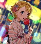 1girl bangs blonde_hair blue_eyes blue_flower blurry blurry_background candy_apple festival floral_print flower food from_side hair_flower hair_ornament holding holding_food japanese_clothes kanimaru kimono obi open_mouth pink_flower pink_kimono pokemon pokemon_(anime) pokemon_xy_(anime) print_kimono sash serena_(pokemon) shiny shiny_hair short_hair solo striped striped_kimono swept_bangs twitter_username upper_body yukata