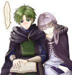 ... 1boy 1girl black_coat blush book closed_eyes closed_mouth coat couple delsaber dress fire_emblem fire_emblem:_the_binding_blade green_eyes green_hair grey_dress hair_intakes hair_over_shoulder long_hair long_sleeves open_book parted_lips raigh_(fire_emblem) reading shiny shiny_hair silver_hair simple_background sitting sleeping sleeping_on_person sleeping_upright sophia_(fire_emblem) sweatdrop thought_bubble white_background