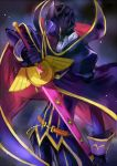 1boy c_(rahit) cape code_geass contrapposto cowboy_shot gloves helmet holding holding_sword holding_weapon jacket long_sleeves male_focus pants purple_cape purple_gloves purple_jacket purple_pants solo standing sword weapon zero_(code_geass)